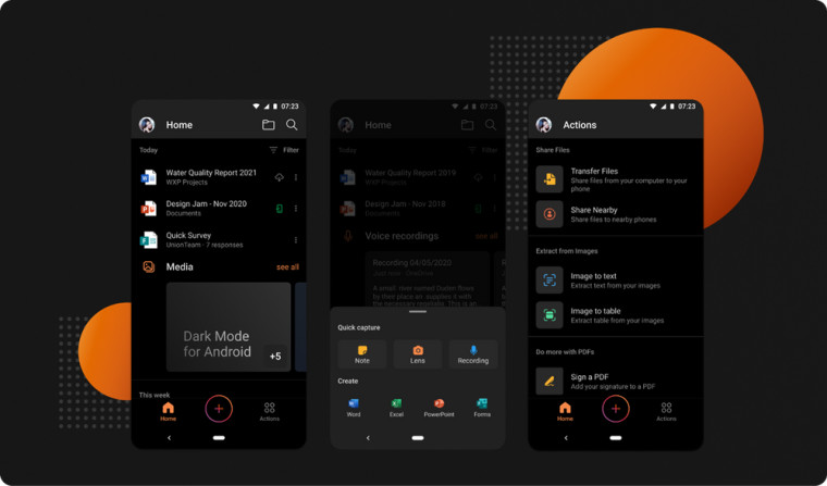 Screenshots of the unified Office app on Android sporting a dark theme