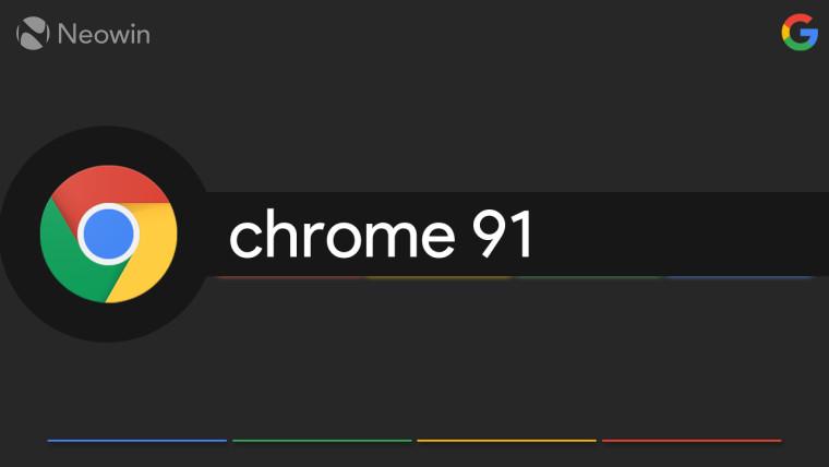 Google Chrome 91 written next to the Chrome logo against a dark background