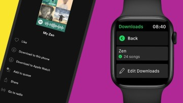 The Spotify app running on an iPhone and on an Apple Watch with download support