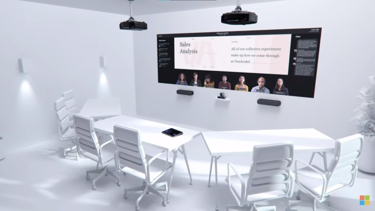 A computer render of a large meeting room with multiple Teams Rooms devices