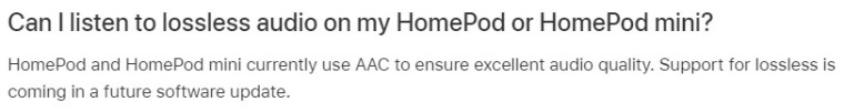 Homepod Support For Apple Music Lossless Audio