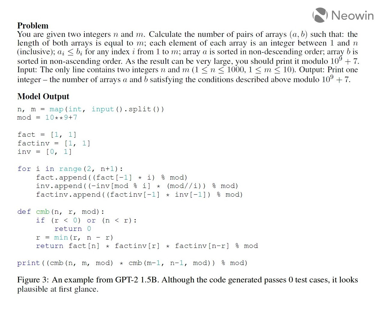 An example from GPT-2 15B Although the code generated passes 0 test cases it looks plausible at firs