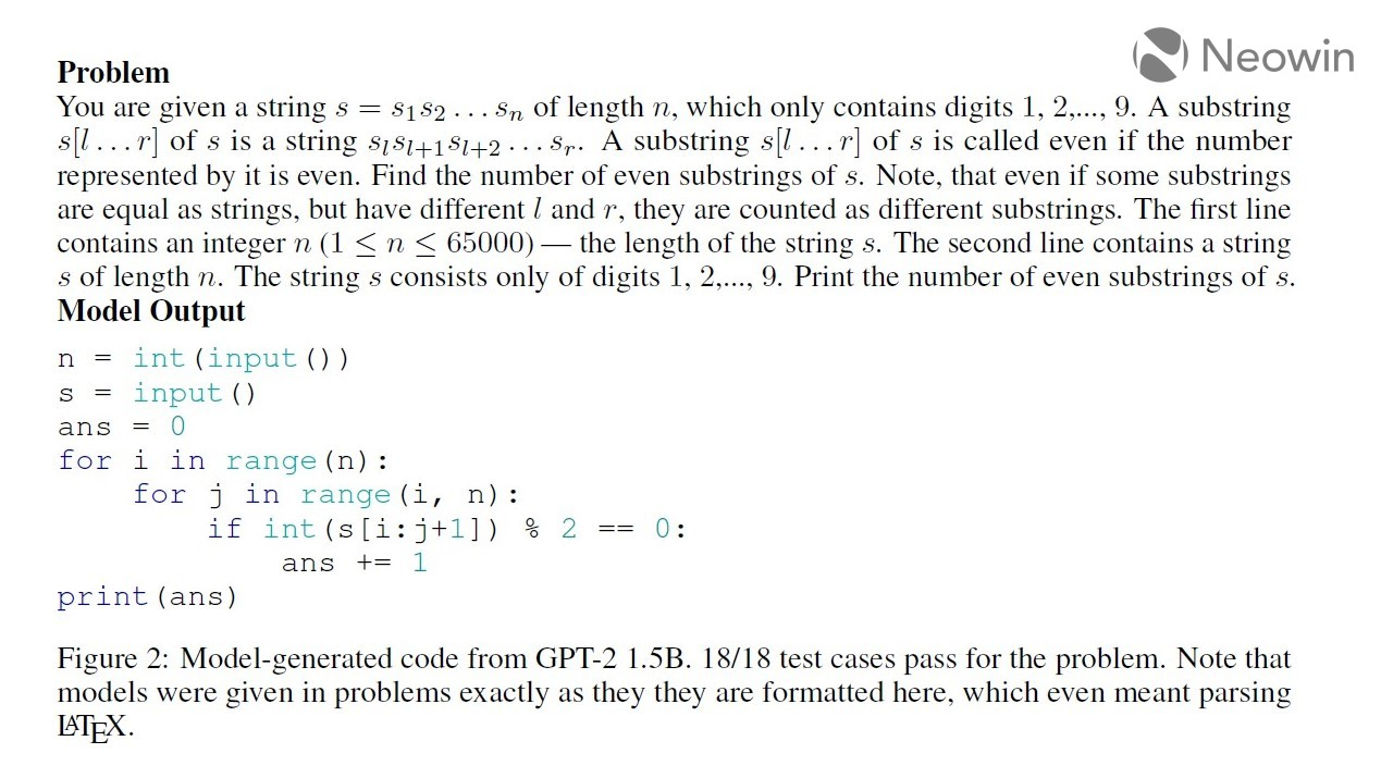 Model-generated code from GPT-2 15B 1818 test cases pass for the problem Note that models were given