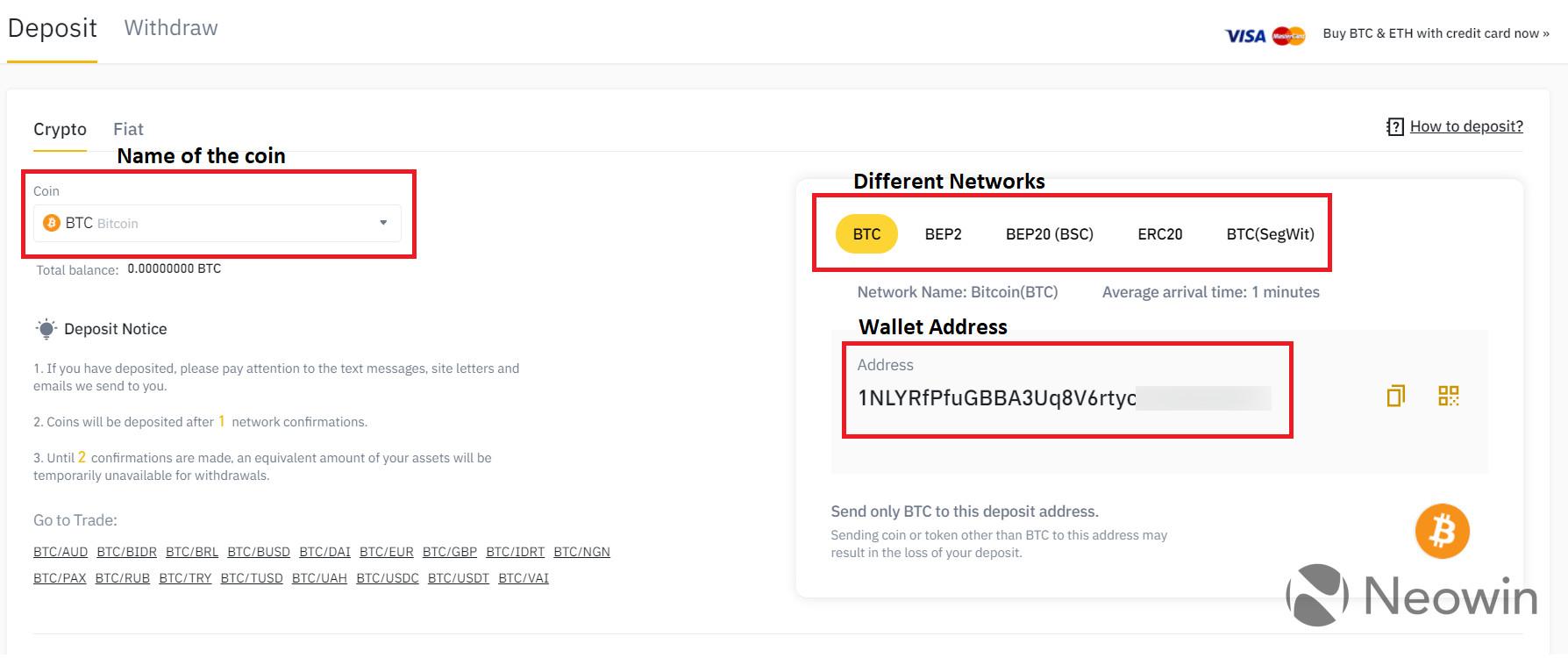 Screenshot showing a Bitcoin wallet address