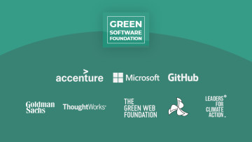 Names of the Green Software Foundation founding members like Microsoft and GitHub written on a green