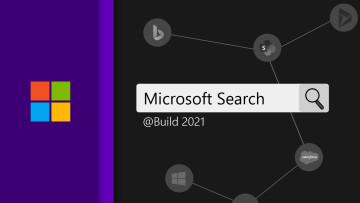 Microsoft Search text inside a search bar on a dark background with a Microsoft logo on the left