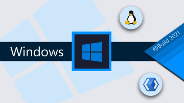 Windows logo and text on a dark sblue over a white background with Linux and WinUI logos around it