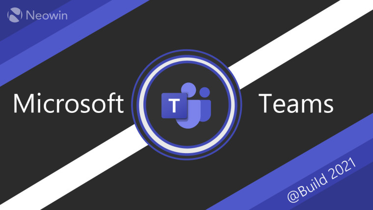 Microsoft Teams logo and text on a dark background with two purple corners