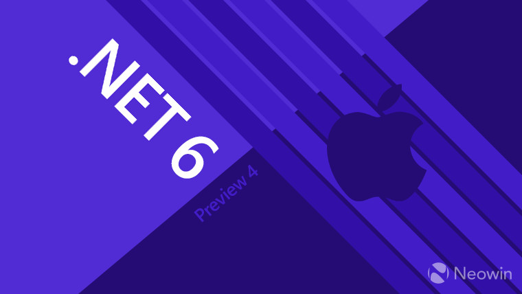 Dotnet 6 Preview 4 written on a blue background with an Apple icon on the right