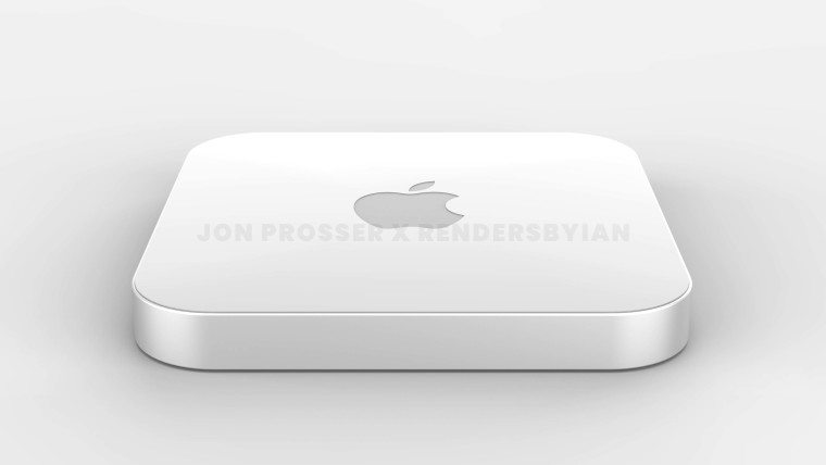 Overhead frontal view of the purported Mac mini redesign