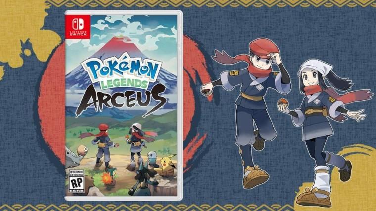 Temporary boxart of Pokmon Legends Arceus next to artwork of the protagonists