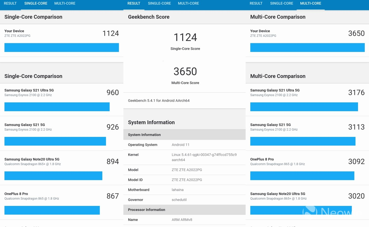 GeekBench benchmark result on the ZTE Axon 30 Ultra