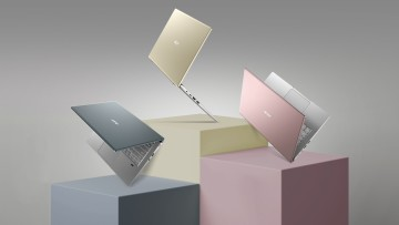 Renders of the Acer Swift X laptop in pink gold and gray color variants