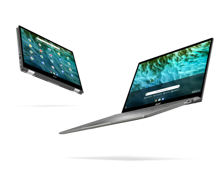 Acer Chromebook Enterprise Spin 713 device in its flipped open and closed forms