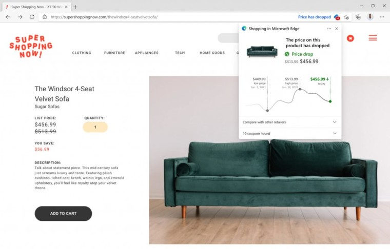Microsoft Edge version 91 Price history feature for shopping