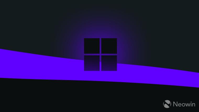 Microsoft logo monochrome on dark background with purple glow