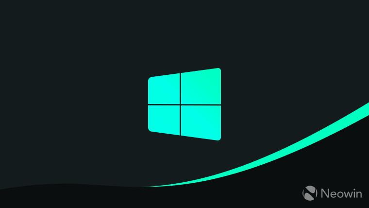 Windows 10 logo unofficial teal on dark grey backround