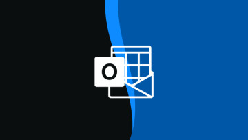 Outlook logo monochrome outline on dark grey and blue background