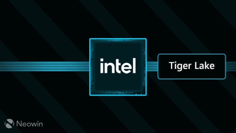Graphic depicting a CPU with text reading Intel Tiger Lake