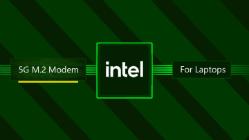 Intel logo with 5G M2 modem for laptops written against a green background