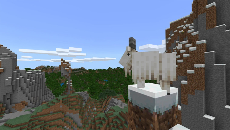 Minecraft goat on a hill