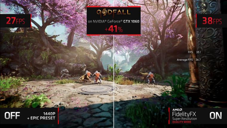 GTX 1060 running AMD FSR on Godfall