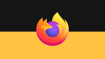 The Firefox logo on a black and yellow background