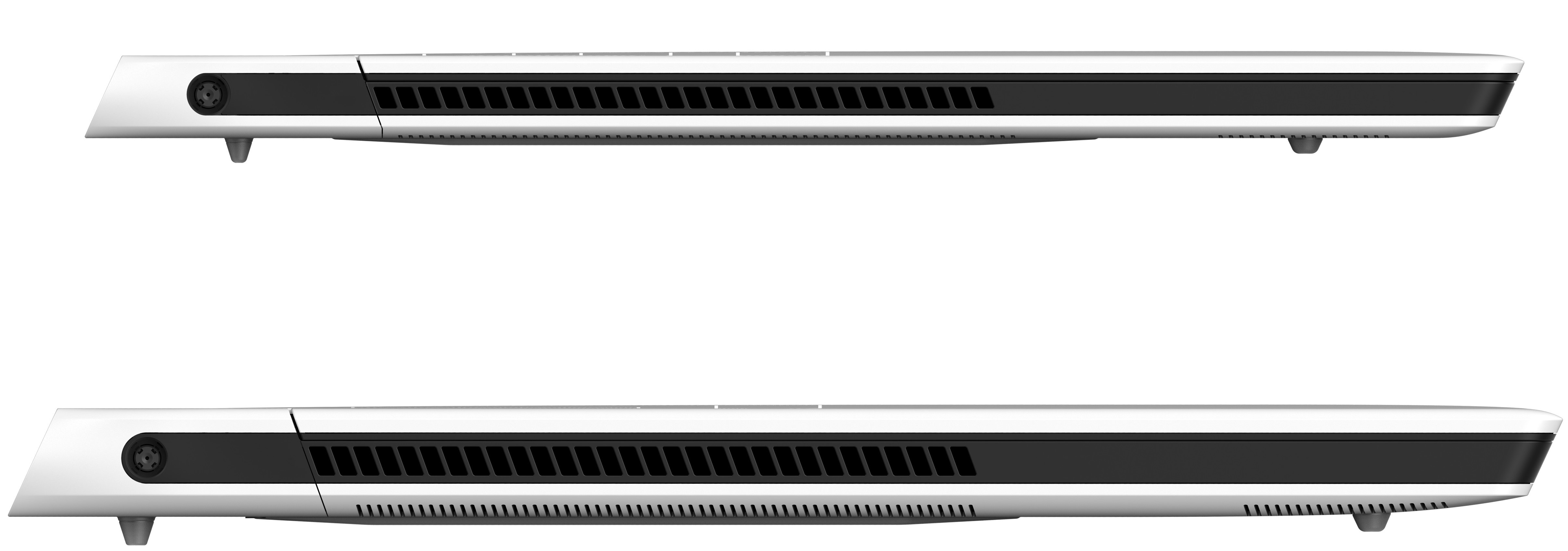 Alienware x17 and x15 seen form the side with the lids closed