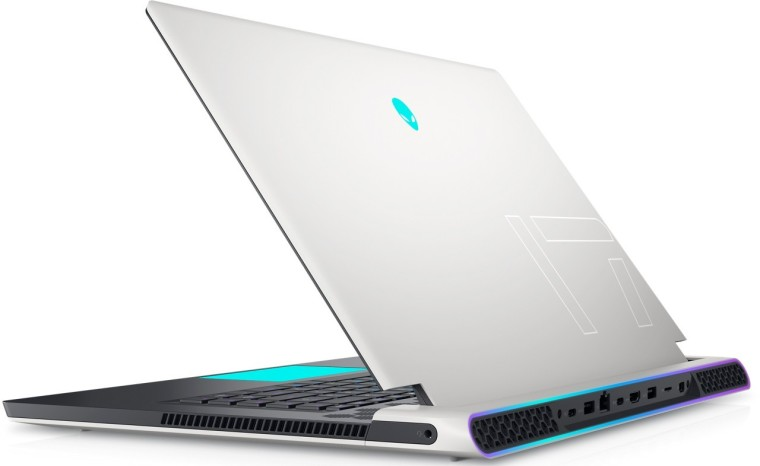 The Alienware x17 laptop with the lid partly open seen from an angled rear view
