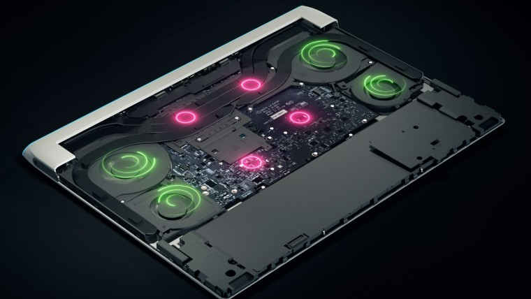 Render depicting the four fans used for cooling the Alienware X series laptops