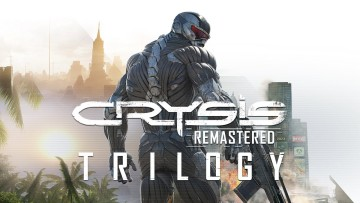 Crysis Remastered Trilogy Logo with Prophet behind it