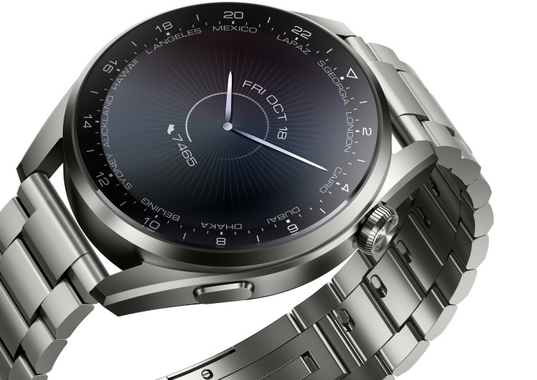 Huawei Watch 3 Pro render showing an analog watch face and a metal strap