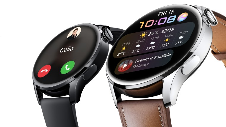 Two Huawei Watch 3 units with different straps