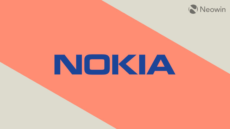 The Nokia logo on a multicoloured background