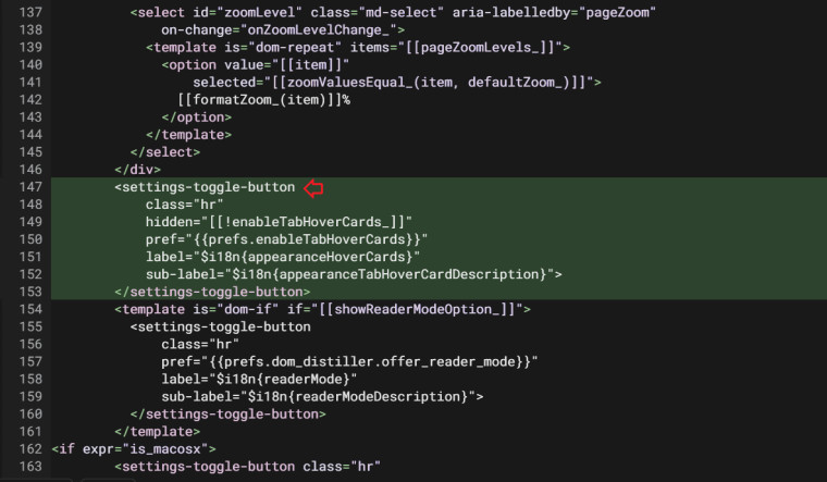 Chromium Commit for adding a toggle to turn off tab hover cards