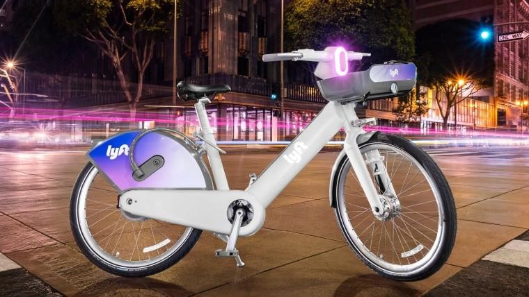 Lyft ebike glowing at night