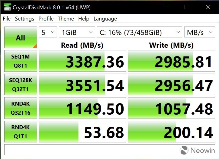 CrystalDiskMark benchmark results on the LG gram 16 laptop