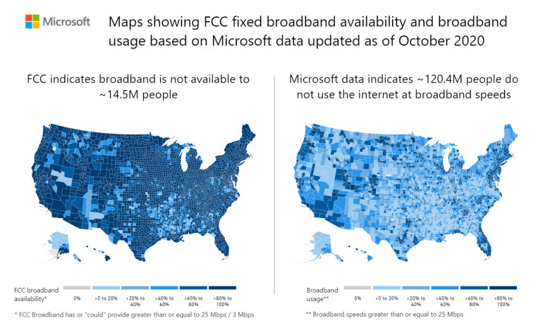 Two maps side by side with the first one showing FCC&039s figures for underserved broadband communit