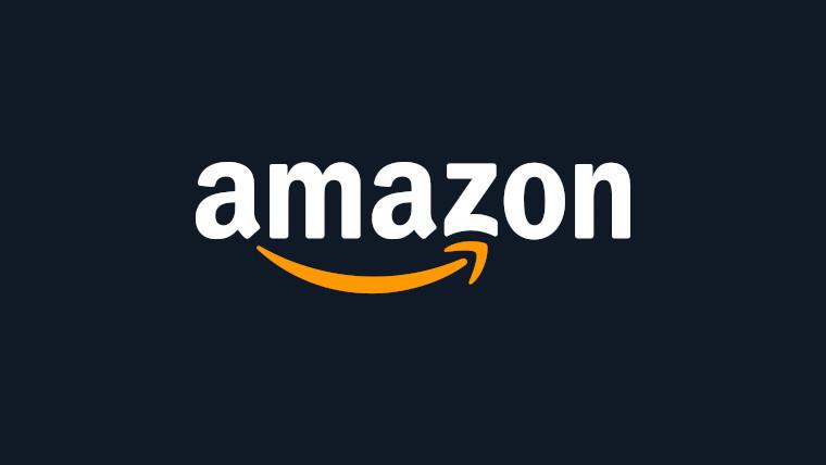The Amazon logo on a blue background