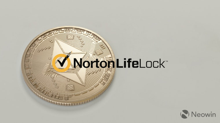 The NortonLifeLock logo next to an Ethereum coin