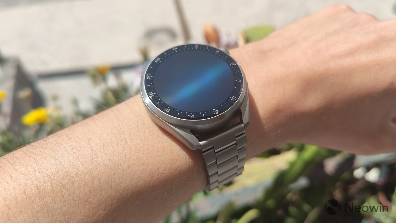 Huawei Watch 3 Pro worn on a wrist with the display turned off