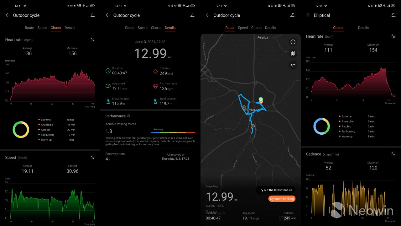 Workout records for a bike ride and an elliptical session on the Huawei Health app