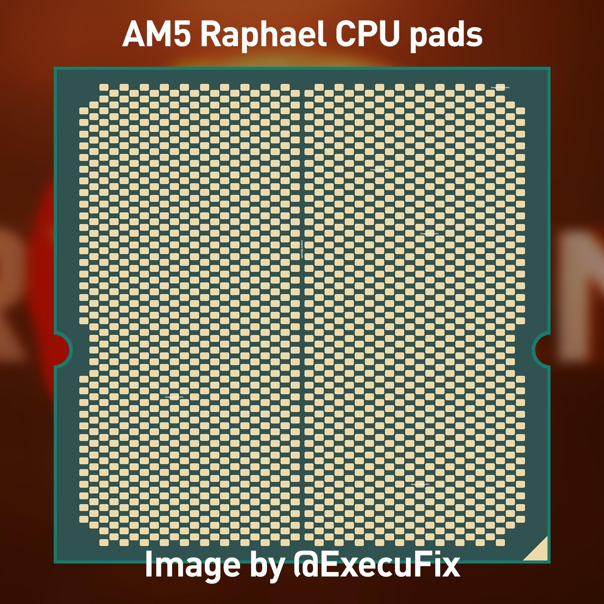 Rendering of a LGA Ryzen 7000 LGA chip