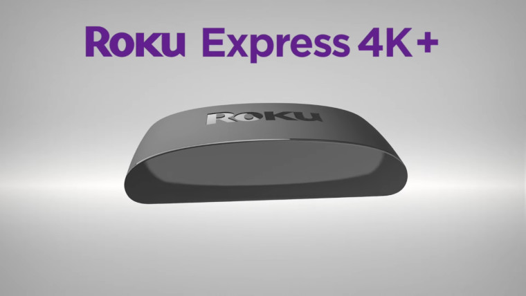 The Roku Express 4K with a text in blue highlighting its name