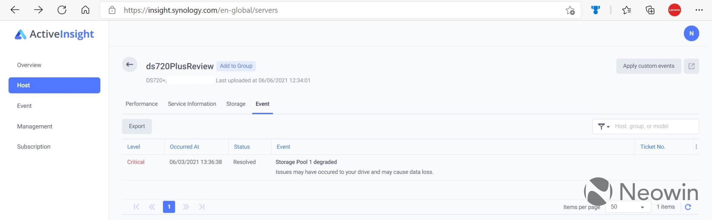 Synology Active Insight event view of a host
