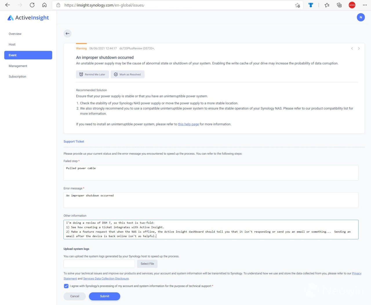 Submitting a ticket in Synology Active Insight screen