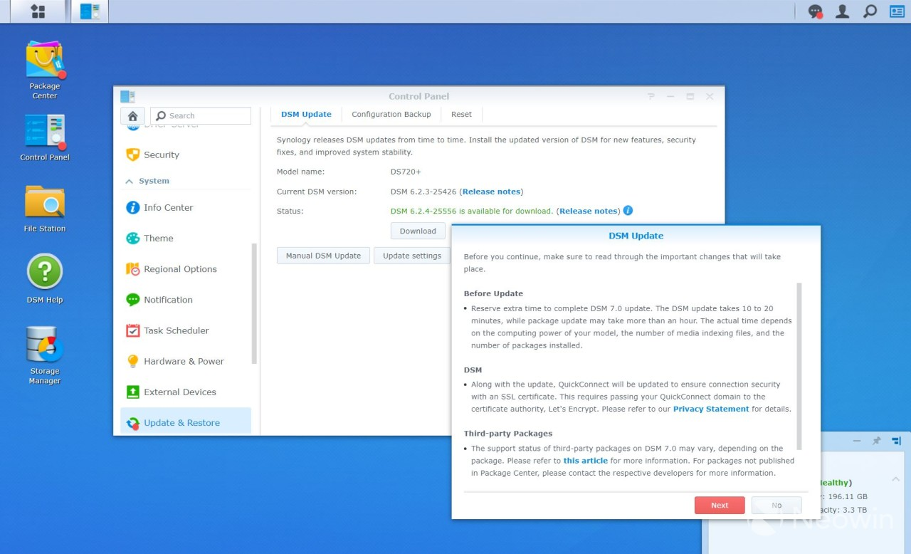 Synology DSM 6 upgrade page