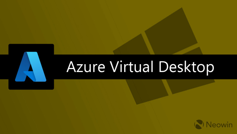 Azure logo with Azure Virtual Desktop written with a Windows logo in the background