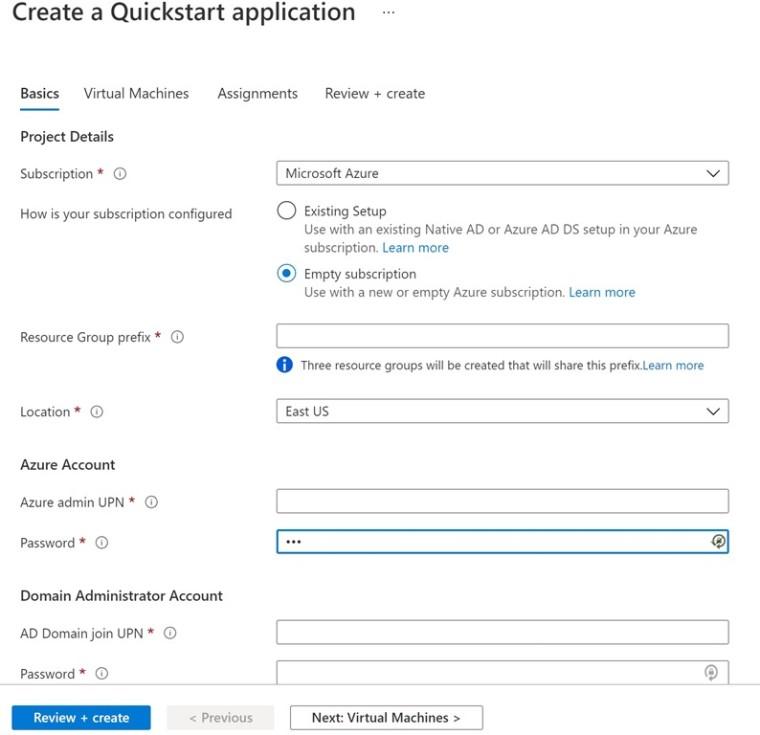 A form for enrolling Azure Virtual Desktop machines through the Azure portal