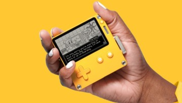 Playdate gaming console in yellow